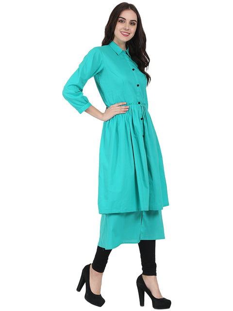 Sea Green 3/4th sleeve cotton layerd anarkali kurta