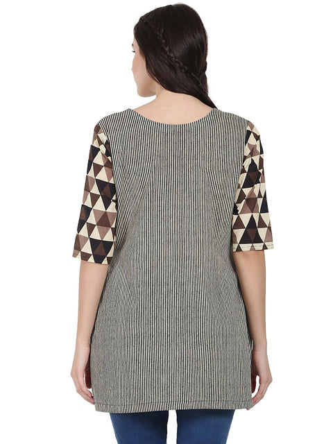 Beige printed 3/4th sleeve cotton layered tunic
