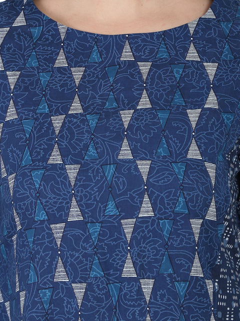 Blue printed 3/4th cotton A-line kurta with side pocket