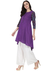 Purple 3/4th sleeve cotton A-line kurta