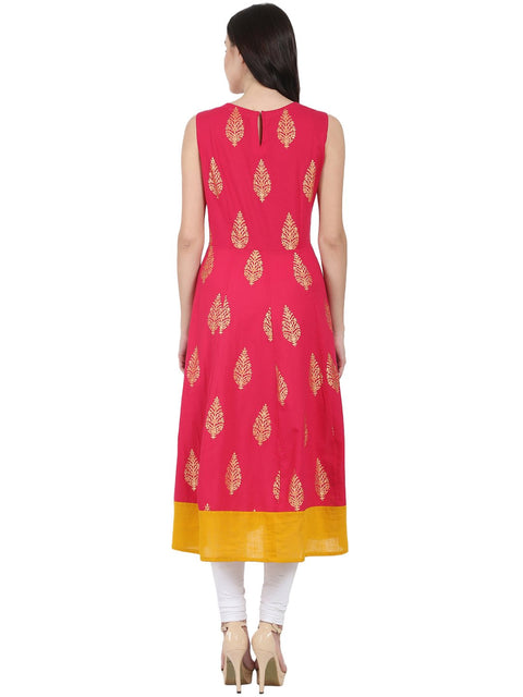 Red printed sleeveless cotton Anarkali kurta