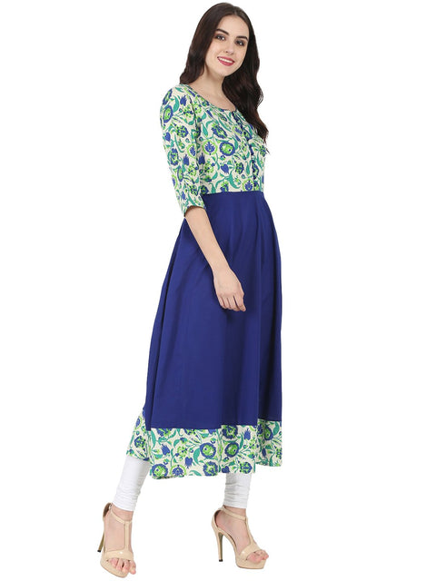 Blue & Green printed 3/4th sleeve Rayon Anarkali kurta