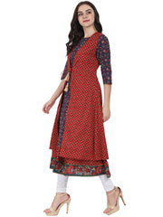 Blue printed 3/4th sleeve cotton anarkali kurta with red printed sleeveless long jacket