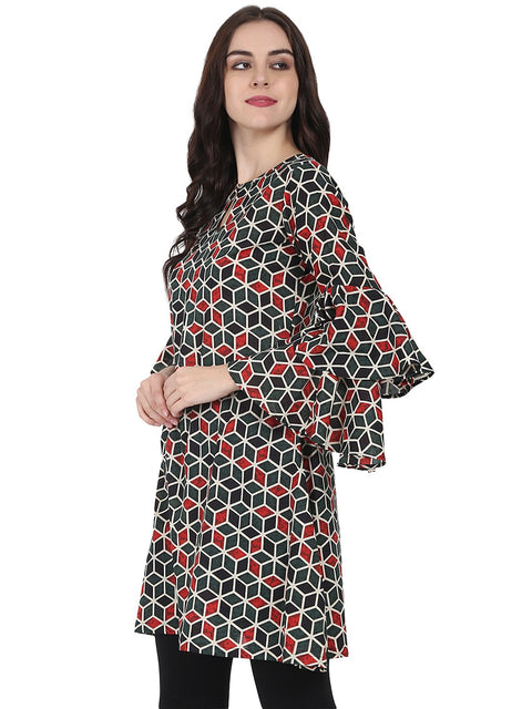 Green printed full sleeve cotton A-line Tunic with Flared sleeve