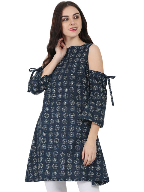 Blue printed short sleeve cotton kurta