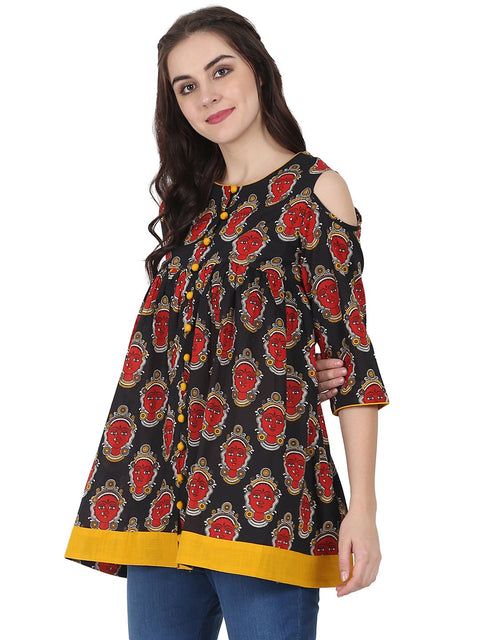 Black & Red printed 3/4th sleeve cotton Flared tunics