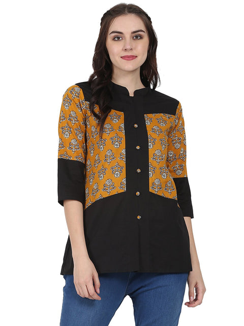 Yellow & Black 3/4th sleeve cotton tunic