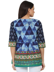 Blue printed 3/4th sleeve cotton Angrakha style tunic with latkan work at yoke