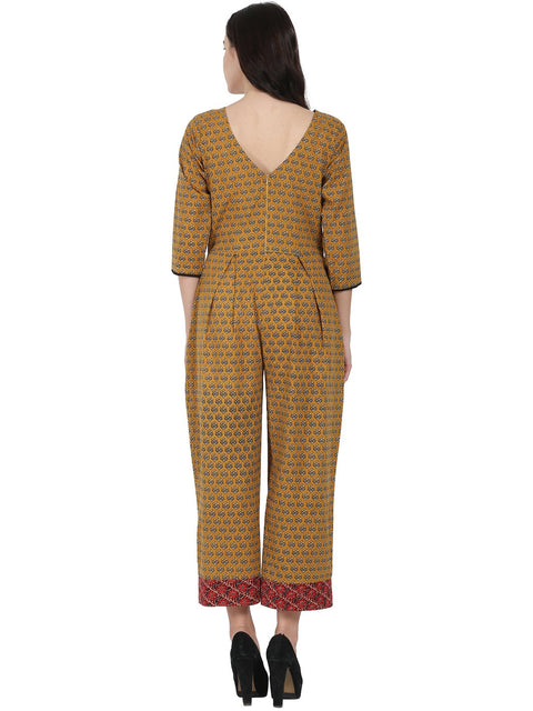 Yellow printed 3/4th sleeve cotton Jumpsuit with double pocket & dori work at yoke