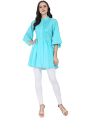 Blue 3/4th flared sleeve cotton A-line Tunic with pleat work at yoke