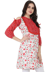 White & red printed 3/4th sleeve cotton Cold shoulder Tunic