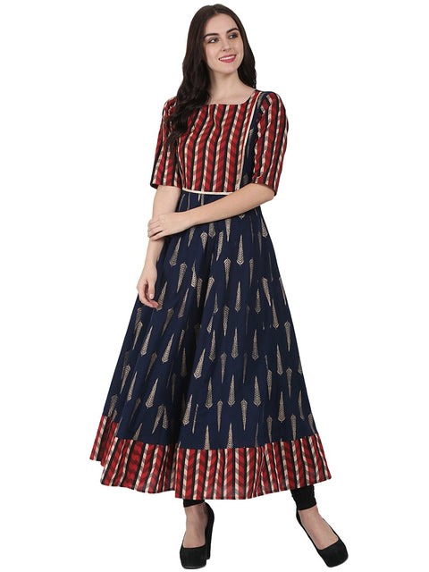 Navy Blue printed half sleeve cotton floor length anarkali kurta