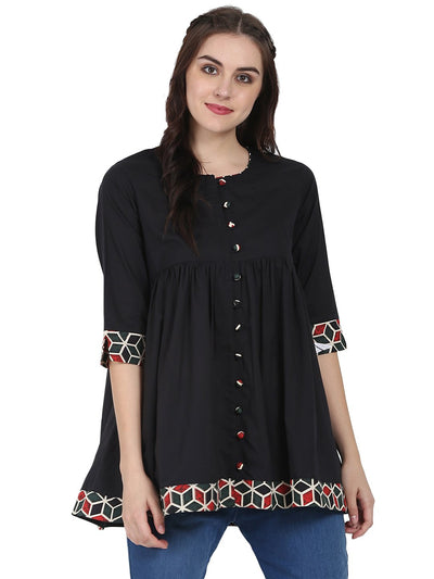 Black 3/4th sleeve cotton A-line tunic