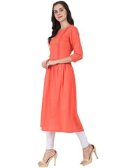 Peach 3/4th sleeve cotton A-line kurta