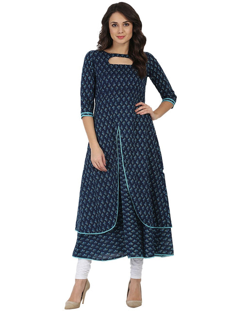 Blue printed 3/4th sleeve cotton Double layer Anarkali kurta