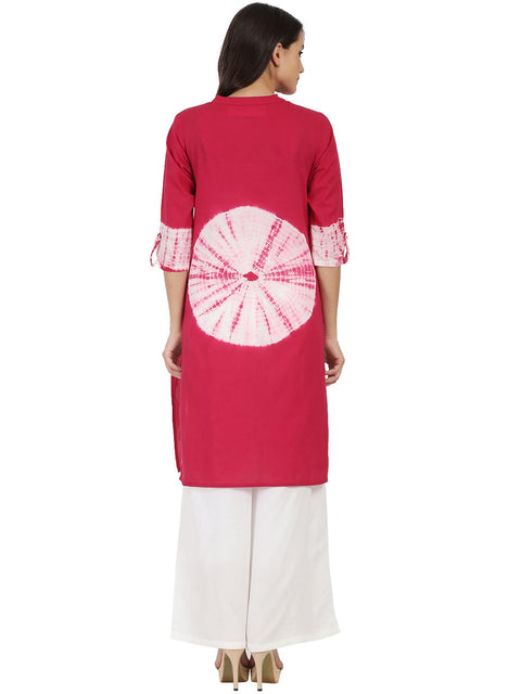Maroon 3/4th sleeve cotton tye dye kurta