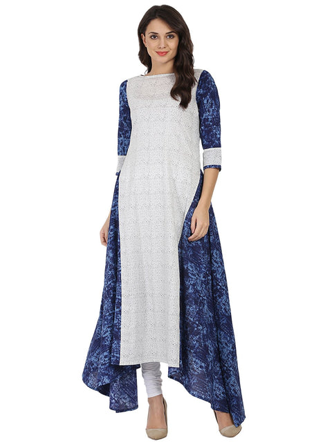 White & Blue printed 3/4th sleeve cotton A-line kurta