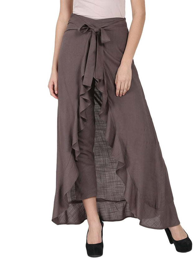 Taupe ankle length rayon slub flared skirt
