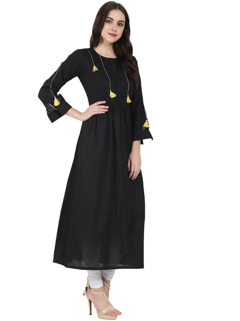 Black full sleeve cotton Anarkali kurta