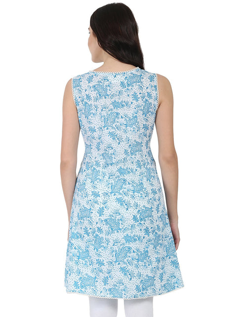 Blue printed sleeveless cotton Tunic