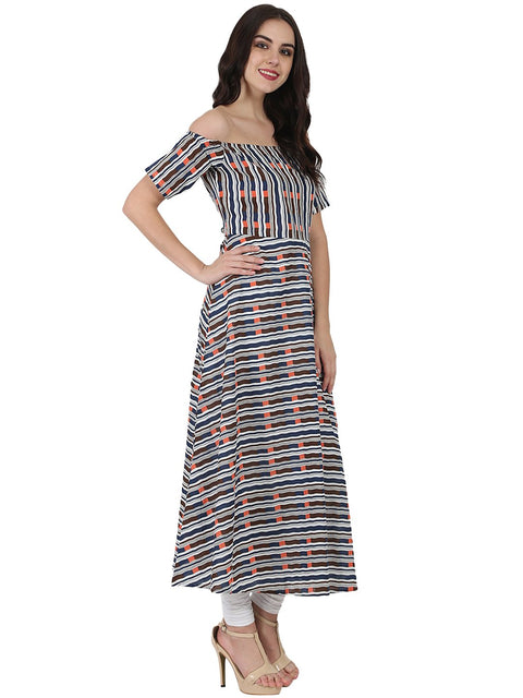 Multi printed off shoulder half sleeve cotton A-line kurta