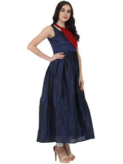 Blue sleeveless Poly dupion long anarkali kurta with yoke design