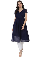 Navy Blue half sleeve georgette Anarkali kurta