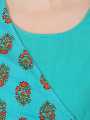 Blue printed 3/4th sleeve cotton Angrakha style kurta