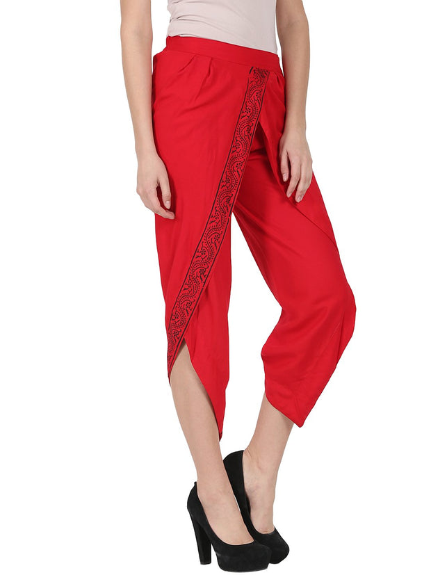 Red ankle length rayon block printed Dhoti