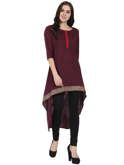 Maroon & Blue 3/4th sleeve block printed low high kurta