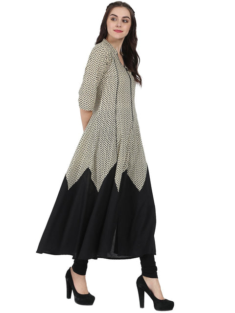Off white & Black 3/4th sleeve cotton A-line kurta