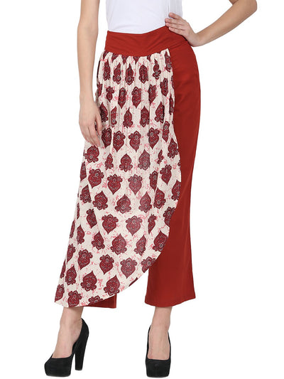 Nayo Solid Maroon cotton Ankle length palazzo