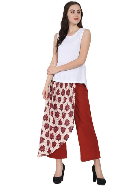 Maroon printed cotton Ankle length palazzo