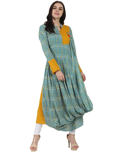 Yellow & Blue printed full sleeve cotton Anarkali kurta