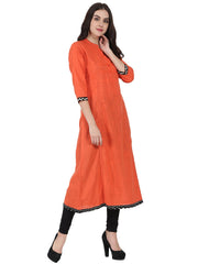 Orange 3/4th sleeve cotton slub A-line kurta