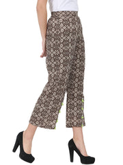 Brown printed ankle length cotton palazzo