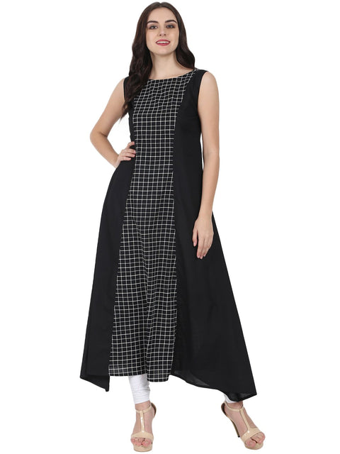 Black printed sleeveless cotton floor length A-line kurta