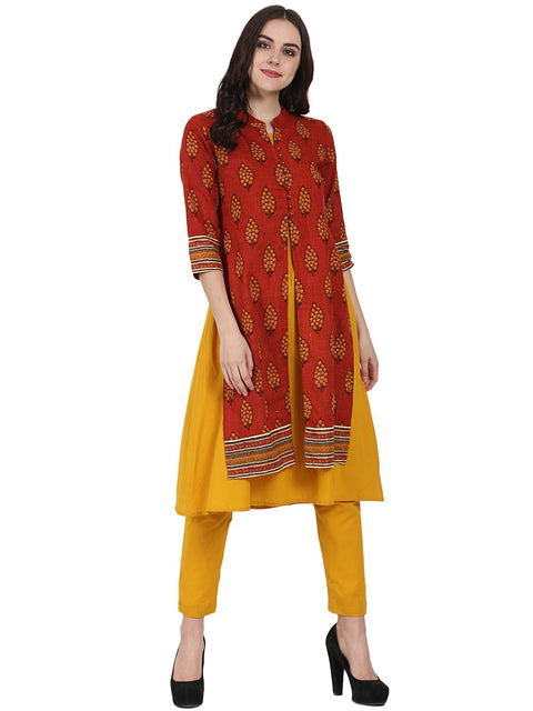 Red & Yellow printed 3/4th sleeve Cotton double layer A-line kurta with yellow ankle length palazzo