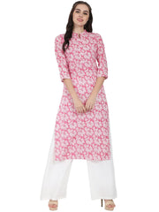 Pink printed 3/4th sleeve cotton kurta