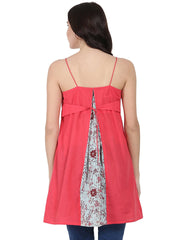 Pink shoulder strap cotton yoke printed tunic