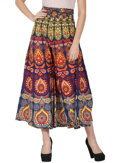 Multi printed ankle length cotton flared skirt