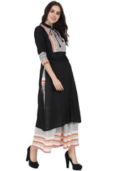Black 3/4th sleeve cotton kurta with off white printed ankle length flared skirt