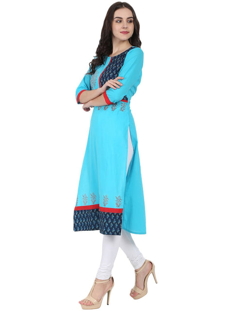 Blue 3/4th sleeve block printed A-line kurta