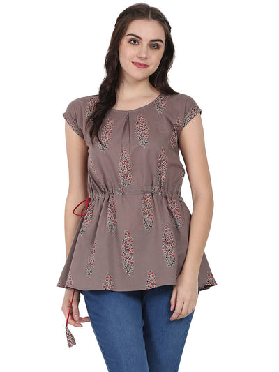 Taupe printed cap sleeve cotton Tunic
