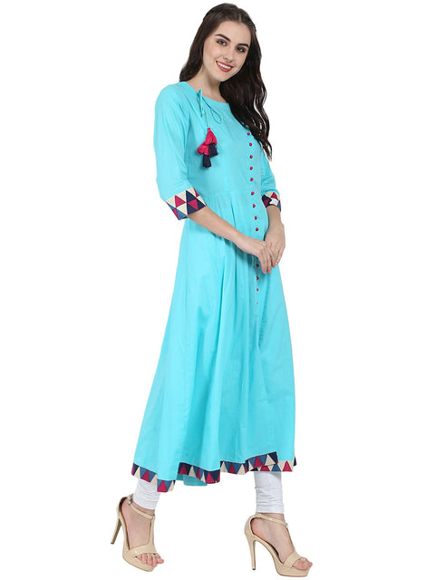 Blue 3/4th sleeve cotton A-line kurta with latkan work at yoke