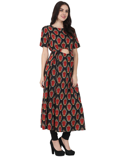 Black printed half sleeve cotton Anarkali kurta