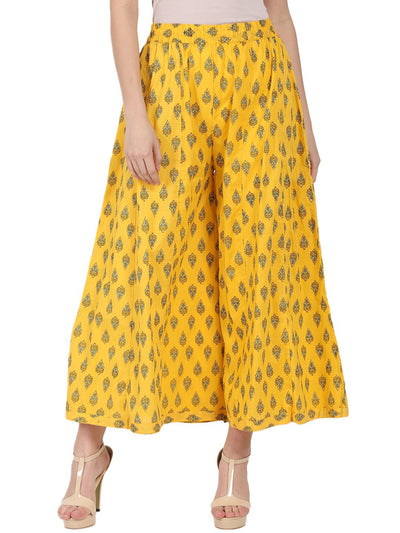 Yellow printed ankle length cotton Palazzo