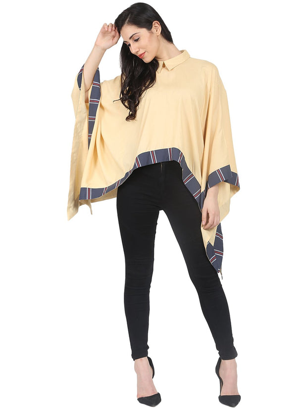 Nayo Yellow printed Flared with asymmetric hemline cotton kaftan Top