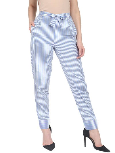 Nayo Blue striped cotton slim fit palazzo