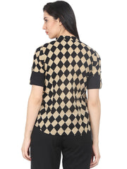 Women Black & Beige Slim Fit Checked Casual Shirt